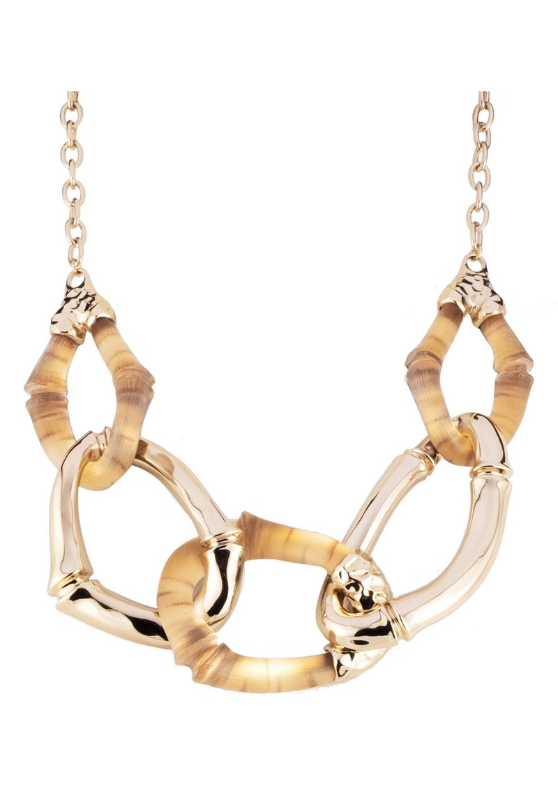 Alexis Bittar Bamboo Carved Link Necklace