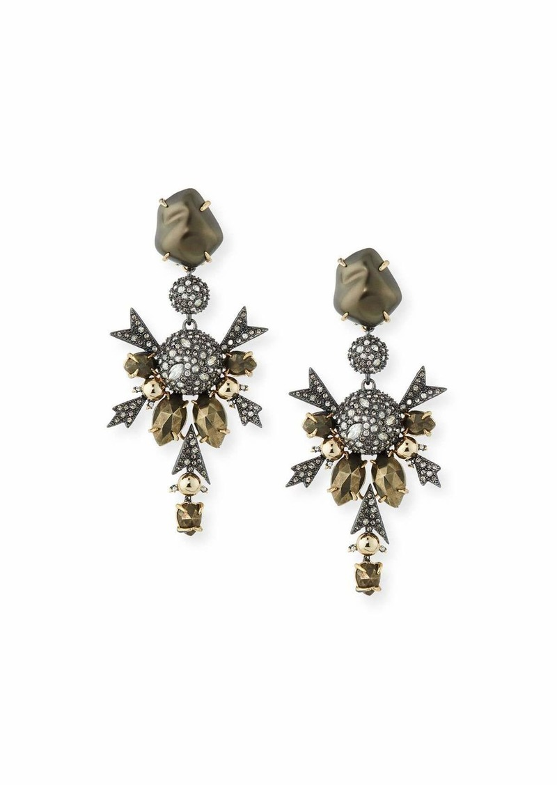 Alexis Bittar Baroque Pearly Crystal Statement Clip-On Earrings