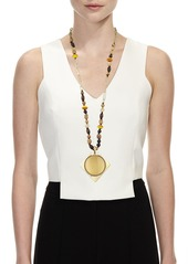 Alexis Bittar Beaded Lucite Pendant Statement Necklace