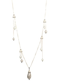 Alexis Bittar Brutalist Butterfly Imitation Pearl Drop Station Necklace