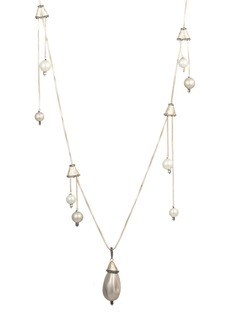 Alexis Bittar Chandelier Station Simulated Pearl Necklace, 40""
