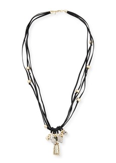 Alexis Bittar Charm Necklace on Leather Cord