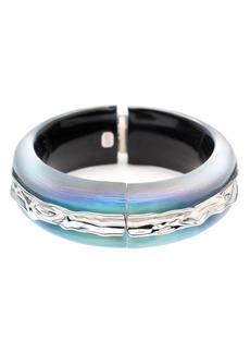 Alexis Bittar Crumpled Inlay Hinge Bracelet