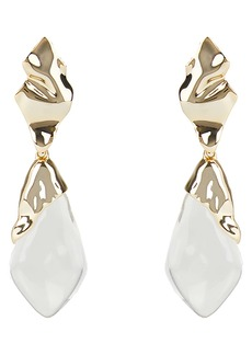 Alexis Bittar Crumpled Metal Drop Clip Earrings