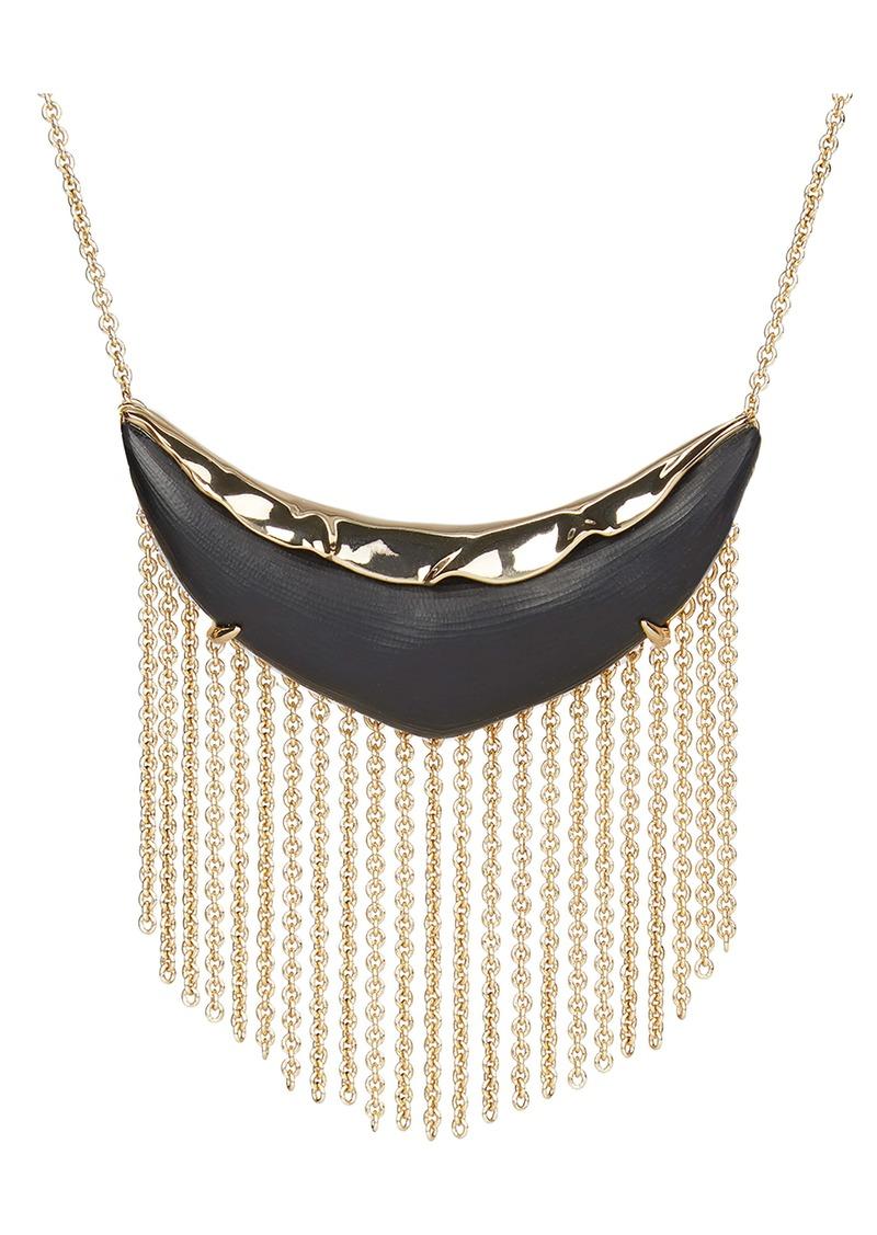Alexis Bittar Crumpled Metal Fringe Bib Necklace