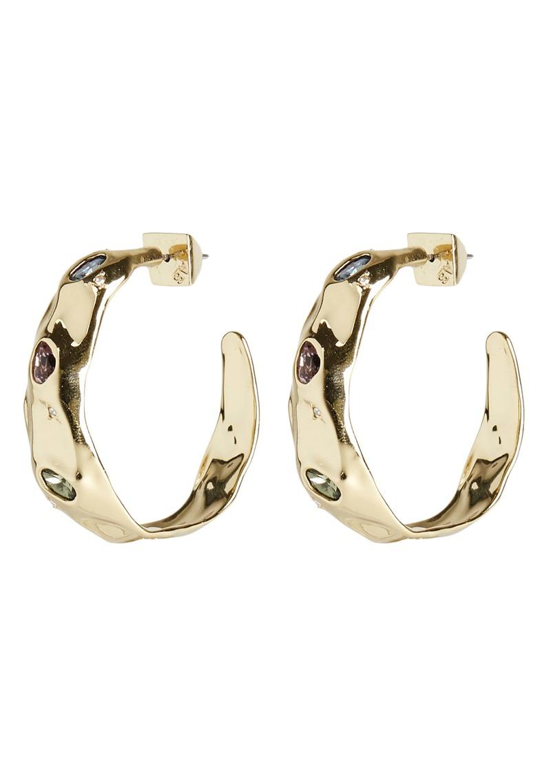 Alexis Bittar Crystal Crumpled Metal Hoop Earrings