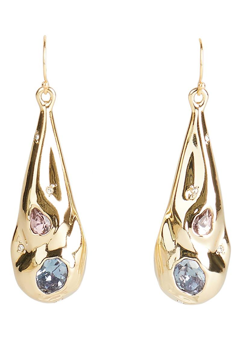 Alexis Bittar Crystal Crumpled Metal Teardrop Earrings