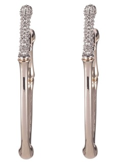 Alexis Bittar Crystal Encrusted Bamboo Carved Hoop Earrings
