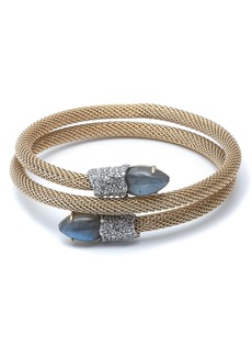 Alexis Bittar Crystal Encrusted Double Coil Mesh Bracelet
