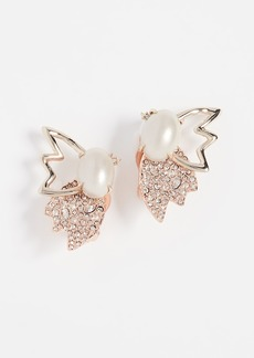 Alexis Bittar Crystal Encrusted Freshwater Cultured Pearl & Petal Clip on Earrings