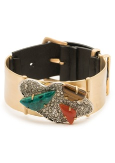Alexis Bittar Crystal Encrusted Leather Strap Bracelet