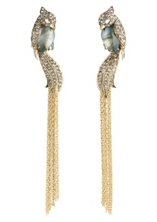 Alexis Bittar Crystal Encrusted Lovebird Tassel Clip Earrings