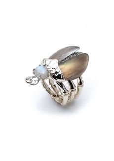 Alexis Bittar Crystal Encrusted Scarab Ring