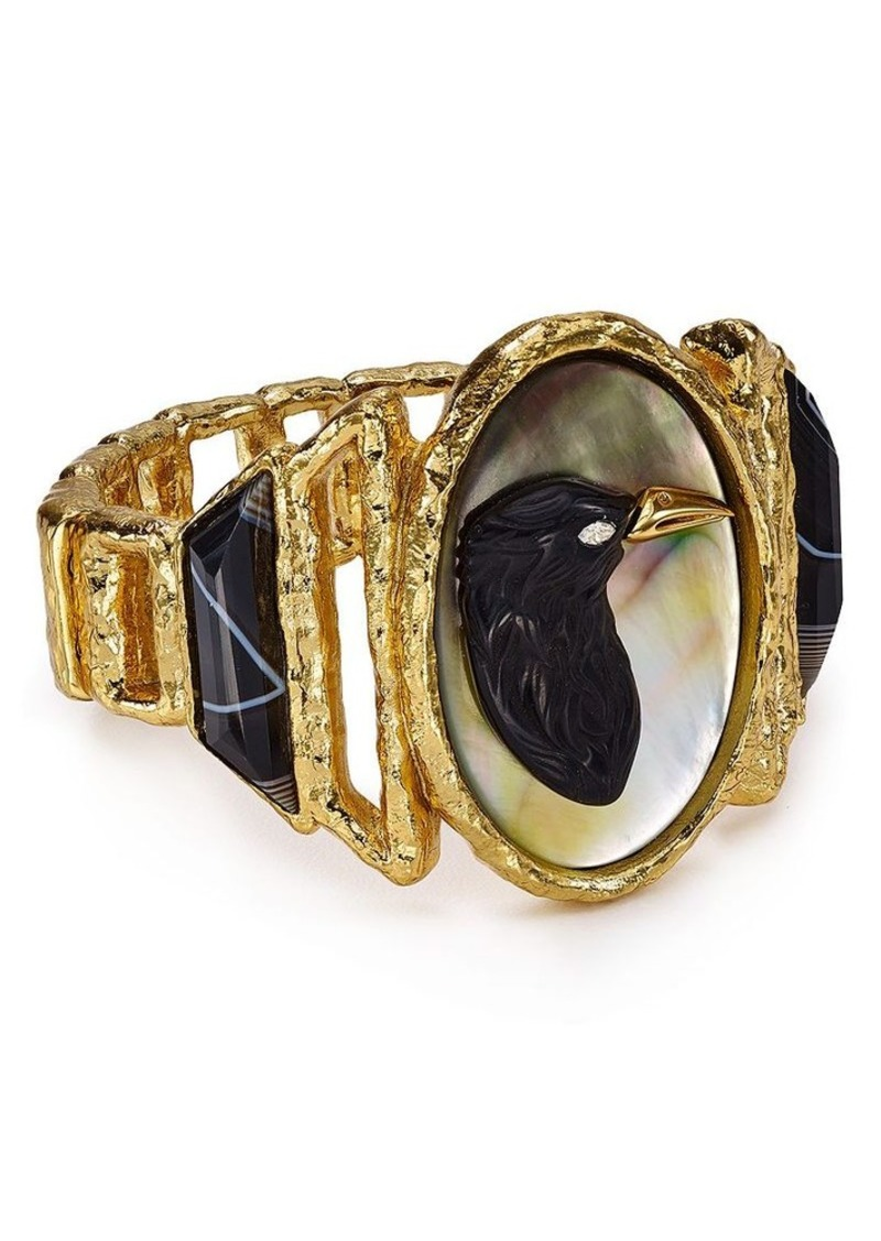 Alexis Bittar Elements Hand-Carved Raven Cameo Cuff