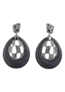 Alexis Bittar Floral Noir Checkerboard Drop Earrings
