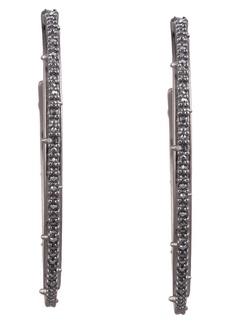 Alexis Bittar Floral Noir Crystal Spiked Hoop Earrings