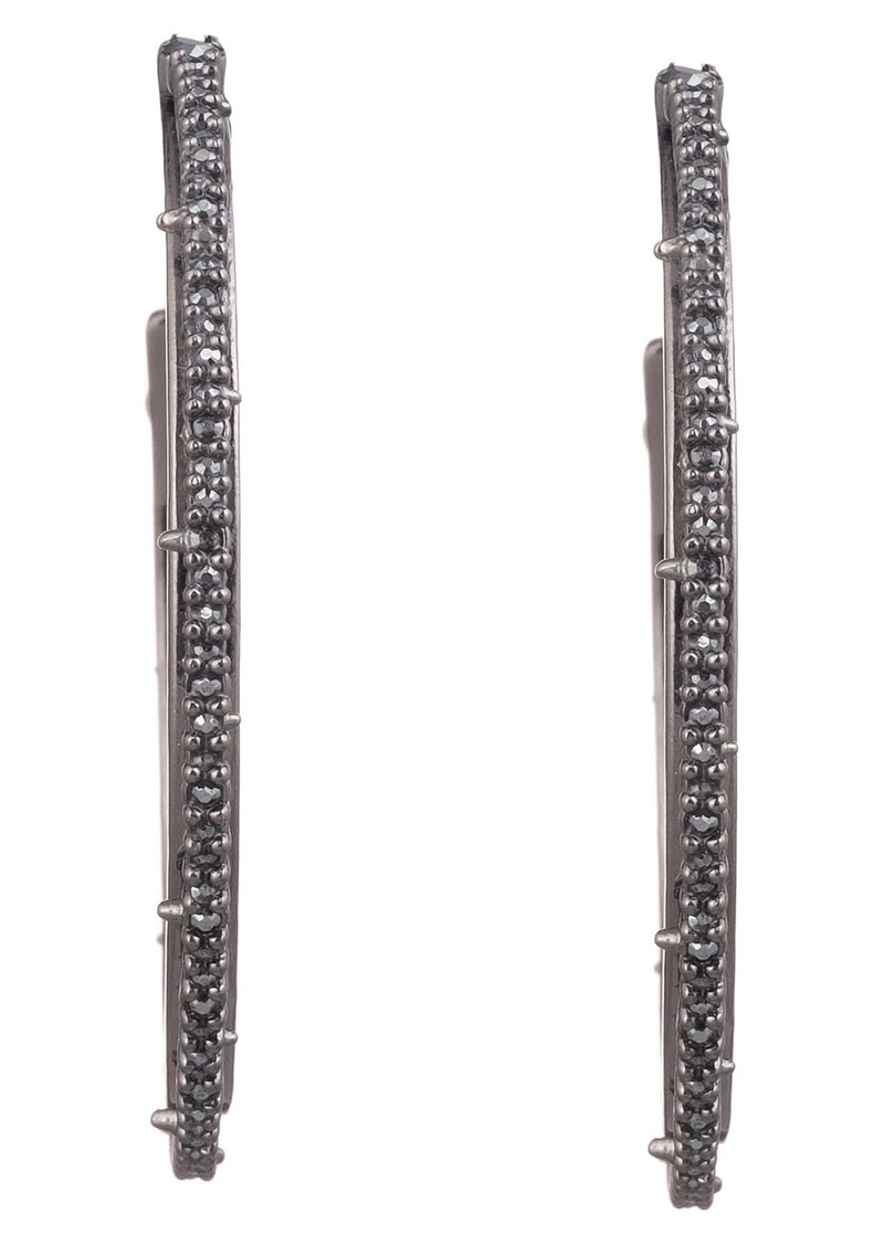 Alexis Bittar Floral Noir Crystal Spiked Hoop Earrings