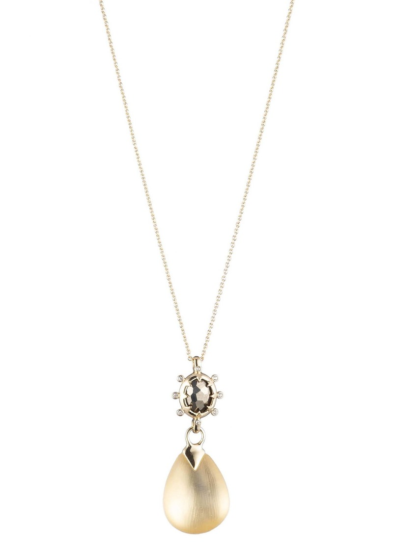 Alexis Bittar Georgian Stone Drop Pendant Necklace