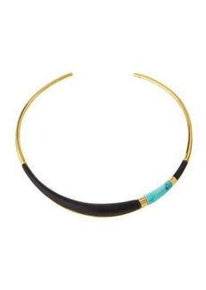 Alexis Bittar Golden Lucite Colorblocked Collar Necklace
