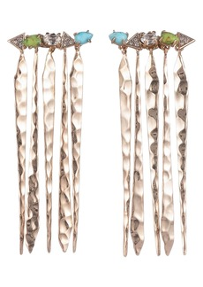 Alexis Bittar Hammered Fringe Drop Earrings