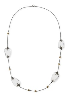 Alexis Bittar Long Beaded Crystal & Pyrite Necklace