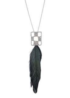 Alexis Bittar Modern Georgian Checkerboard Feather Pendant Necklace