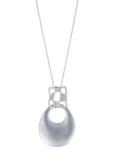 "Alexis Bittar Modern Georgian Checkerboard Large Link Pendant Necklace, 32"""