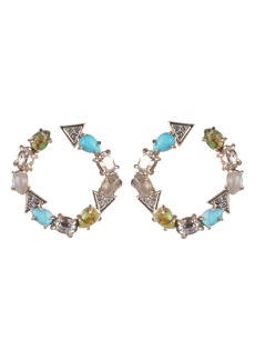 Alexis Bittar Multi Stone Hoop Earrings
