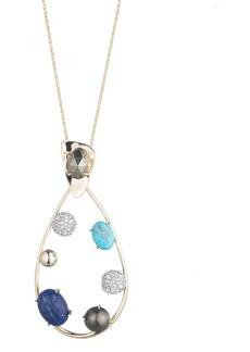 """Alexis Bittar Multi-Stone Teardrop Pendant Necklace, 32"""""""