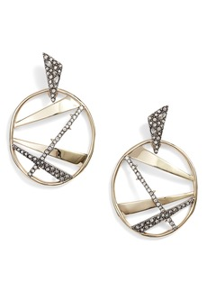 Alexis Bittar Large Crystal Encrusted Plaid Hoop Earrings