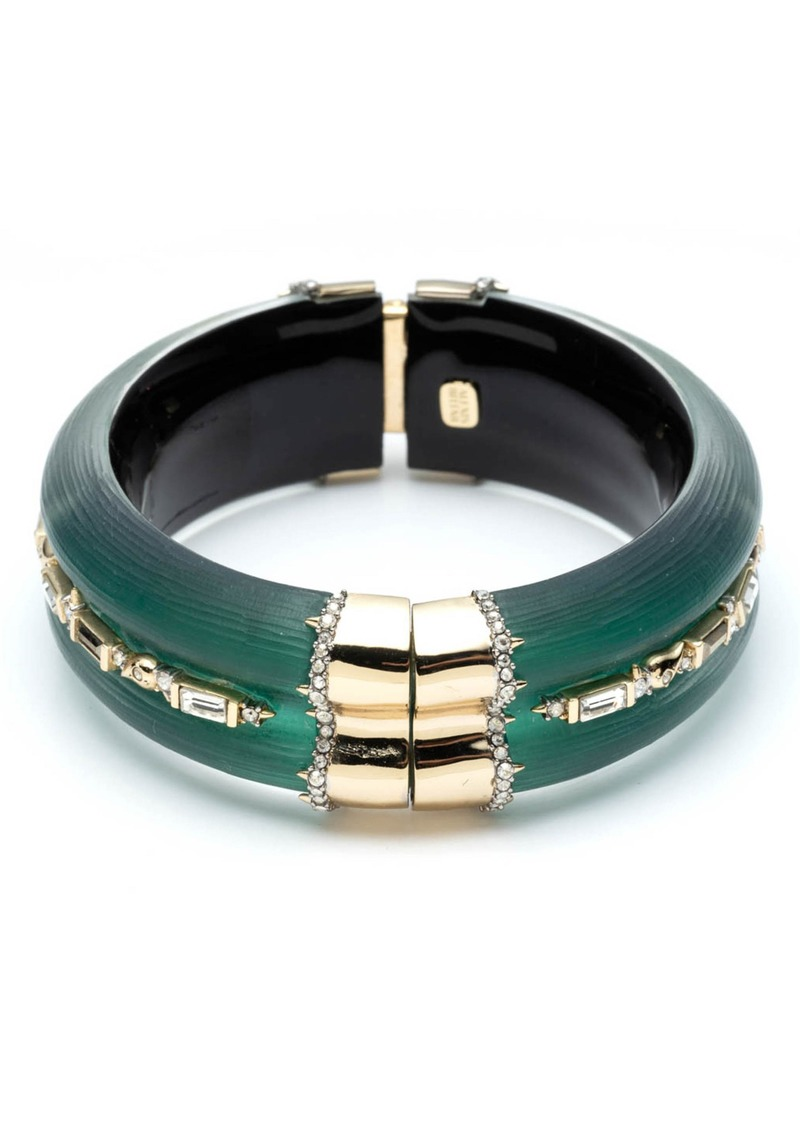 Alexis Bittar Retro Gold Collection Crystal Baguette Hinge Bangle