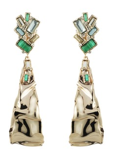 Alexis Bittar Retro Gold Collection Crumpled Drop Clip Earrings