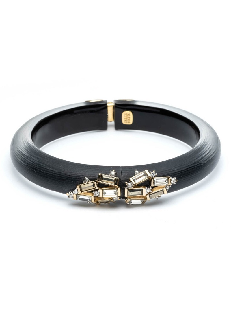 Alexis Bittar Retro Gold Collection Crystal Baguette Cluster Hinged Bangle
