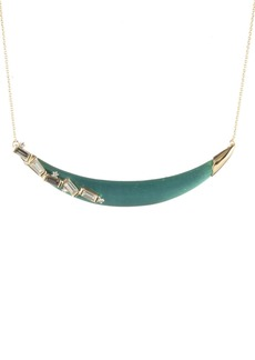 Alexis Bittar Retro Gold Collection Crystal Baguette Crescent Necklace