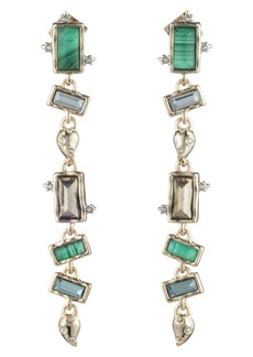 Alexis Bittar Retro Gold Collection Long Multi Stone Earrings