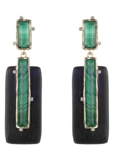 Alexis Bittar Retro Gold Stone Studded Clip Earrings