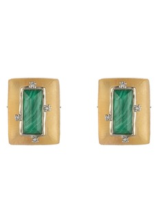 Alexis Bittar Retro Gold Collection Stone Studded Clip Earrings
