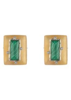 Alexis Bittar Retro Gold Stone Studded Clip Earrings
