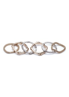Alexis Bittar Set of 6 Bamboo Carved Rings