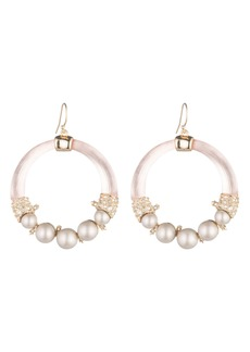Alexis Bittar Shell Pearl Hoop Earrings