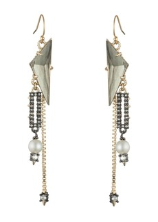 Alexis Bittar Simulated Pearl & Crystal Chain Drop Earrings