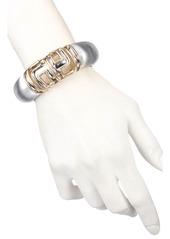 Alexis Bittar Two Tone Sculptural Capped Hinge Bracelet