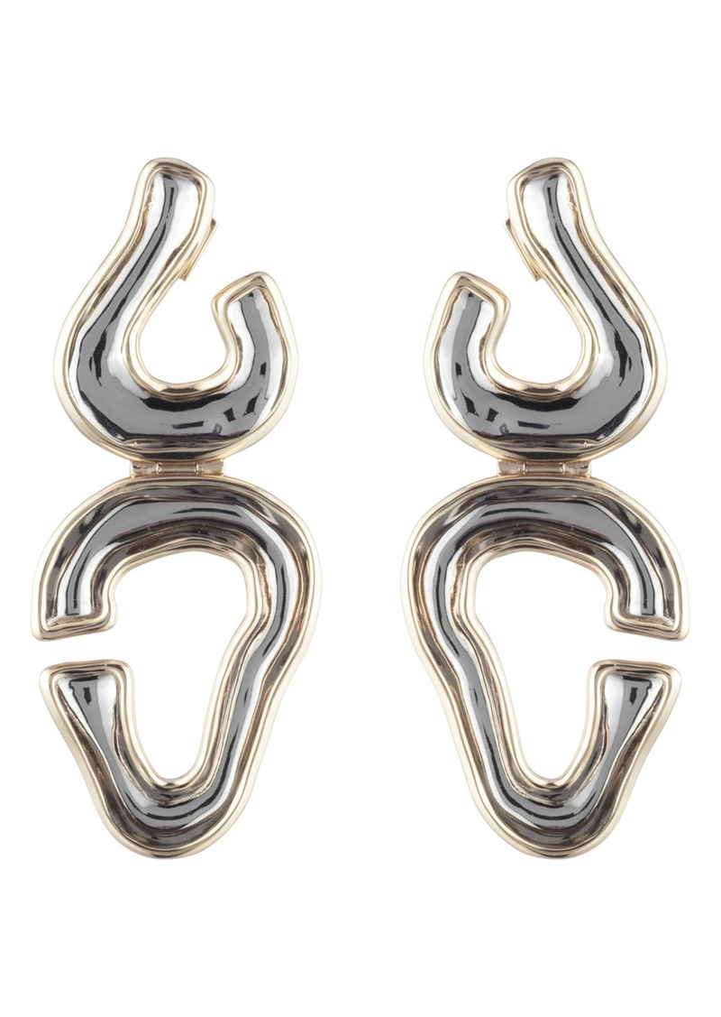 Alexis Bittar Two Tone Sculptural Drop Earrings