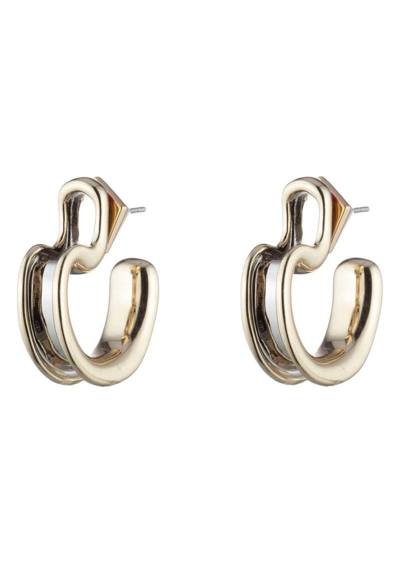 Alexis Bittar Two-Tone Sculptural Huggie Hoop Earrings