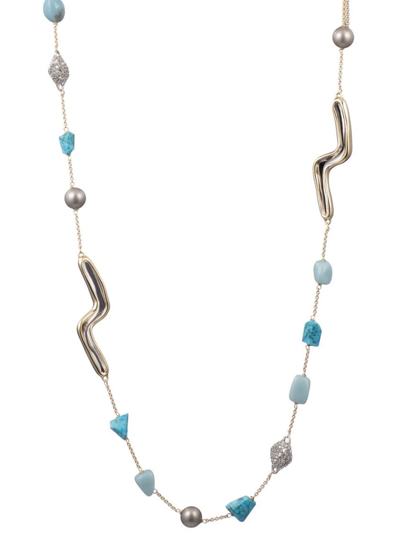 Alexis Bittar Two Tone Sculptural Station Necklace