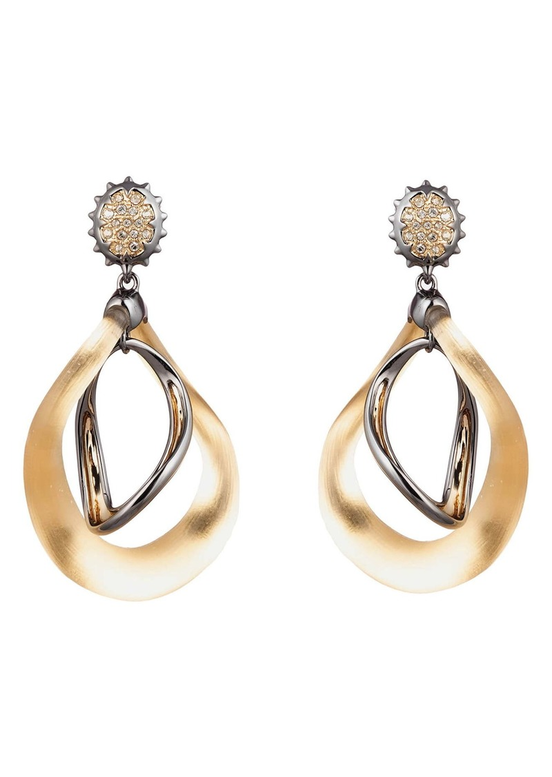 Alexis Bittar Two-Tone Wavy Orbital Drop Earrings