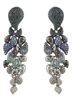 Alexis Bittar Winter Paisley Crystal Encrusted Ombré Statement Clip Earrings