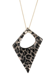 Alexis Bittar Asymmetrical Panther Print Lucite Statement Pendant Necklace