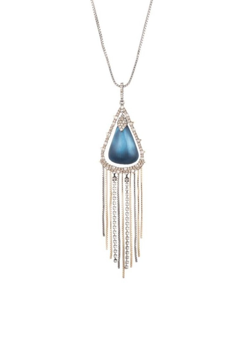 Alexis Bittar Brutalist Butterfly Crystal Encrusted Tassel Chain Pendant Necklace