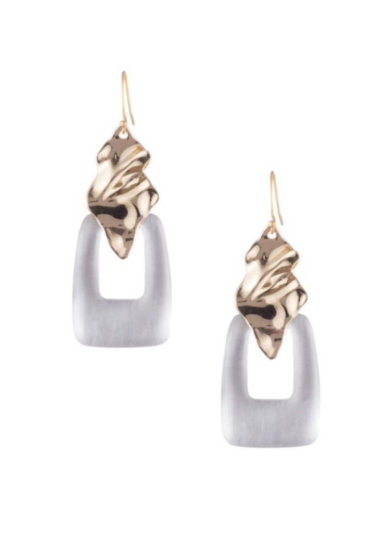 Alexis Bittar Crumpled Goldtone Cutout Lucite Wire Earrings